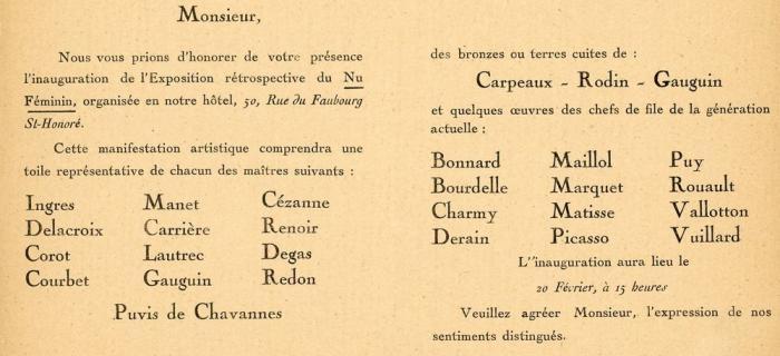 Invitation Exposition du Nu Féminin d'Ingres à nos jours, galerie Styles, 1922