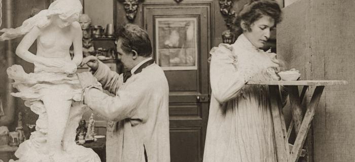 Niels Hansen Jacobsen et Anna Gabriele dans leur atelier parisien boulevard Arago, vers 1900-1901 Vejen, Vejen Kunstmuseum