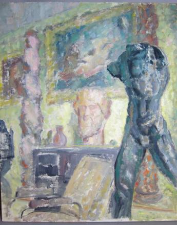 Michel DUFET (1888-1985) Vue du salon des Dufet-Bourdelle au musée Bourdelle, avec la Tête chypriote et l'Homme qui marche de Rodin  Huile sur toile  73 x 60 cm Inv. ICO679