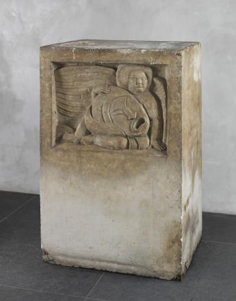 Antoine BOURDELLE Socle des Génies au masque Plâtre et bois  127 x 82,5 x 66 cm  Inv. MBPL4829