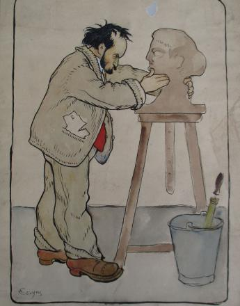 Antoine François COSYNS (1875-1936) Bourdelle modelant la tête de la France Encre et aquarelle