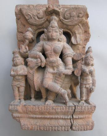 Bois de char de procession hindou, représentant Ardhanarishvara  Bois exotique Haut-relief 43,2 x 23,5 x 11,5 cm