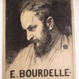 Louis Welden HAWKINS (1849-1910) Portrait d'Émile (Antoine) Bourdelle, en buste, de profil 1903 Fusain et pastel